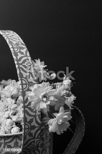 Black and White Floral background backdrop