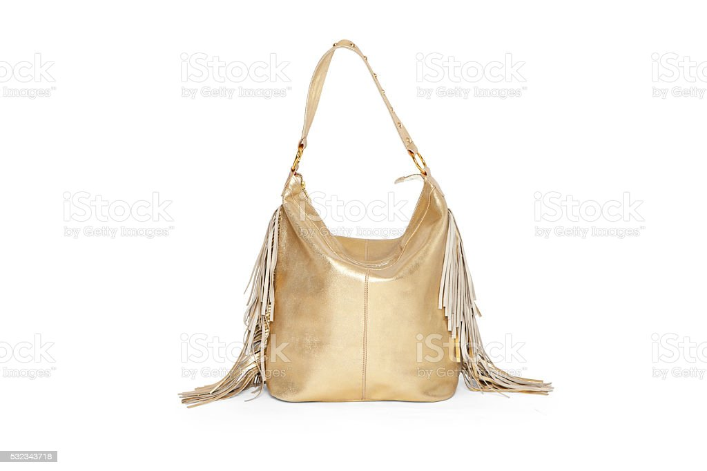 Fringed leather bag stock photo