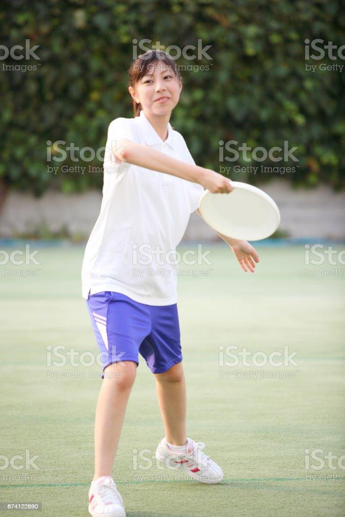 飛盤女孩高中學生 免版稅 stock photo