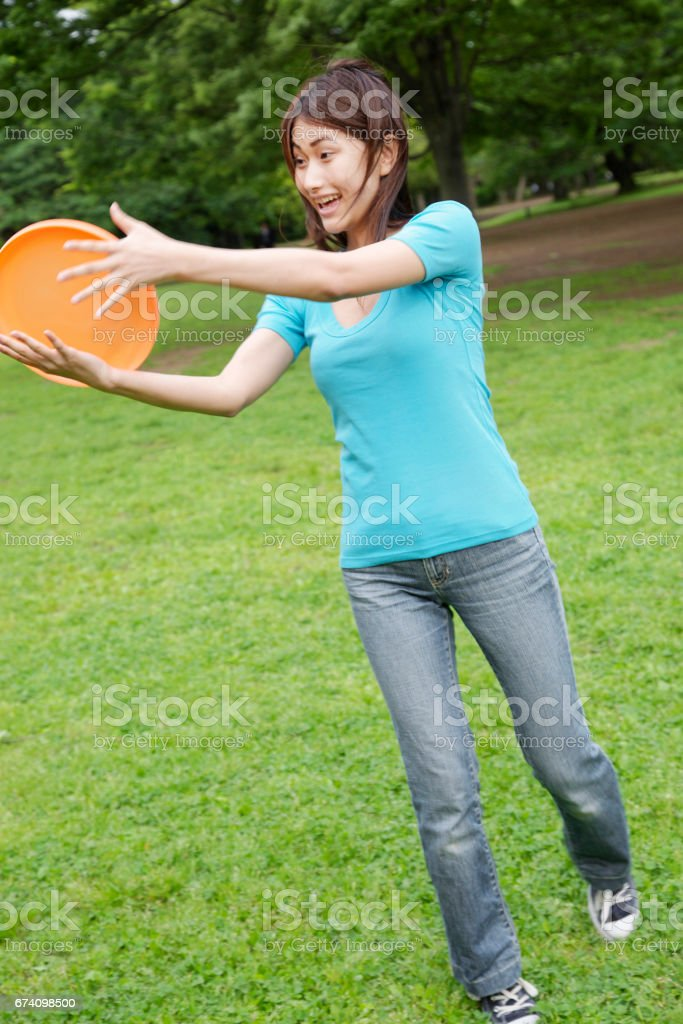 Frisbee women stock photo