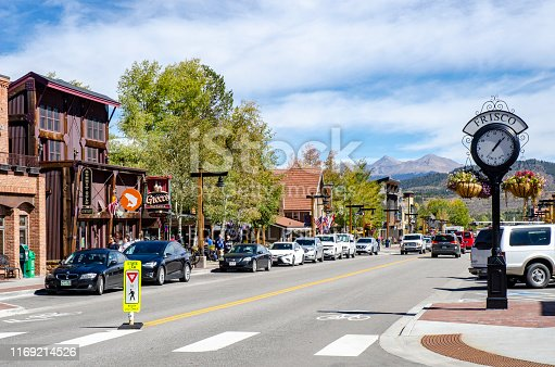 Frisco, Colorado, USA - September 27, 2018: Main Street runs through the town of Frisco, Colorado which was established in 1880 and built during the mining boom. Today, it is a popular town among skiers from around the world. Four major ski resorts are located in close proximity to Frisco: Copper Mountain, Breckenridge, Keystone, and Arapahoe Basin. The town attracts many visitors each year and offers many shops and restaurants. A large reservoir, Lake Dillon, is also located by the town and includes a marina, park and centers for outdoor activities.