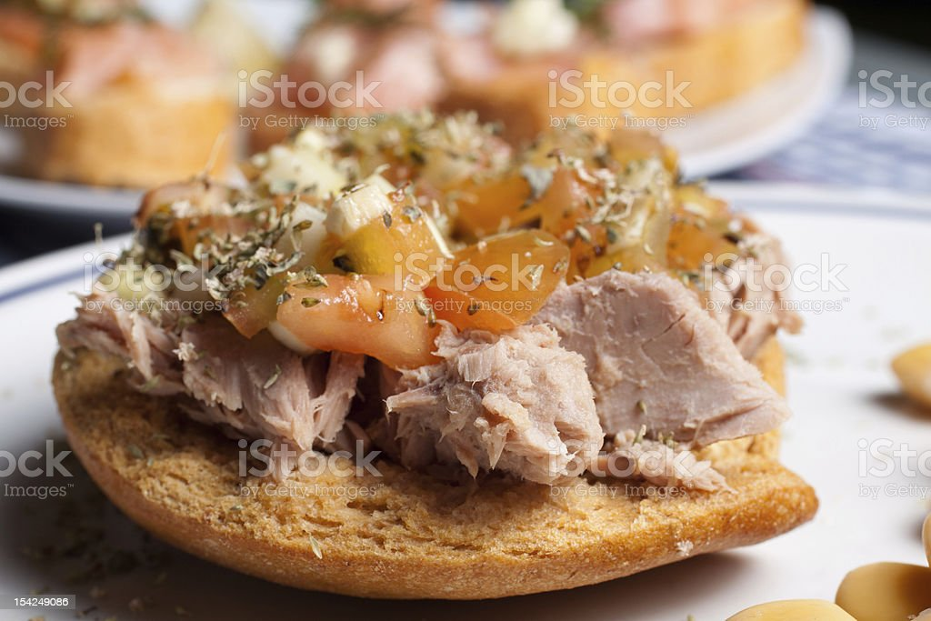 Frisella with tuna and tomato royalty-free stock photo