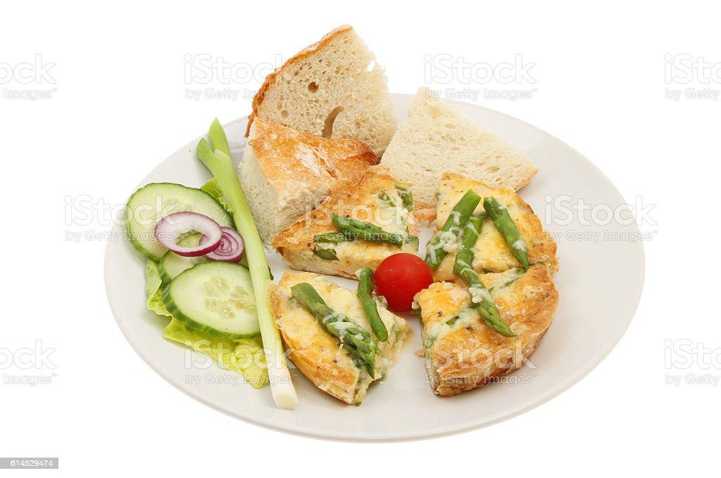 Frittata and salad stock photo