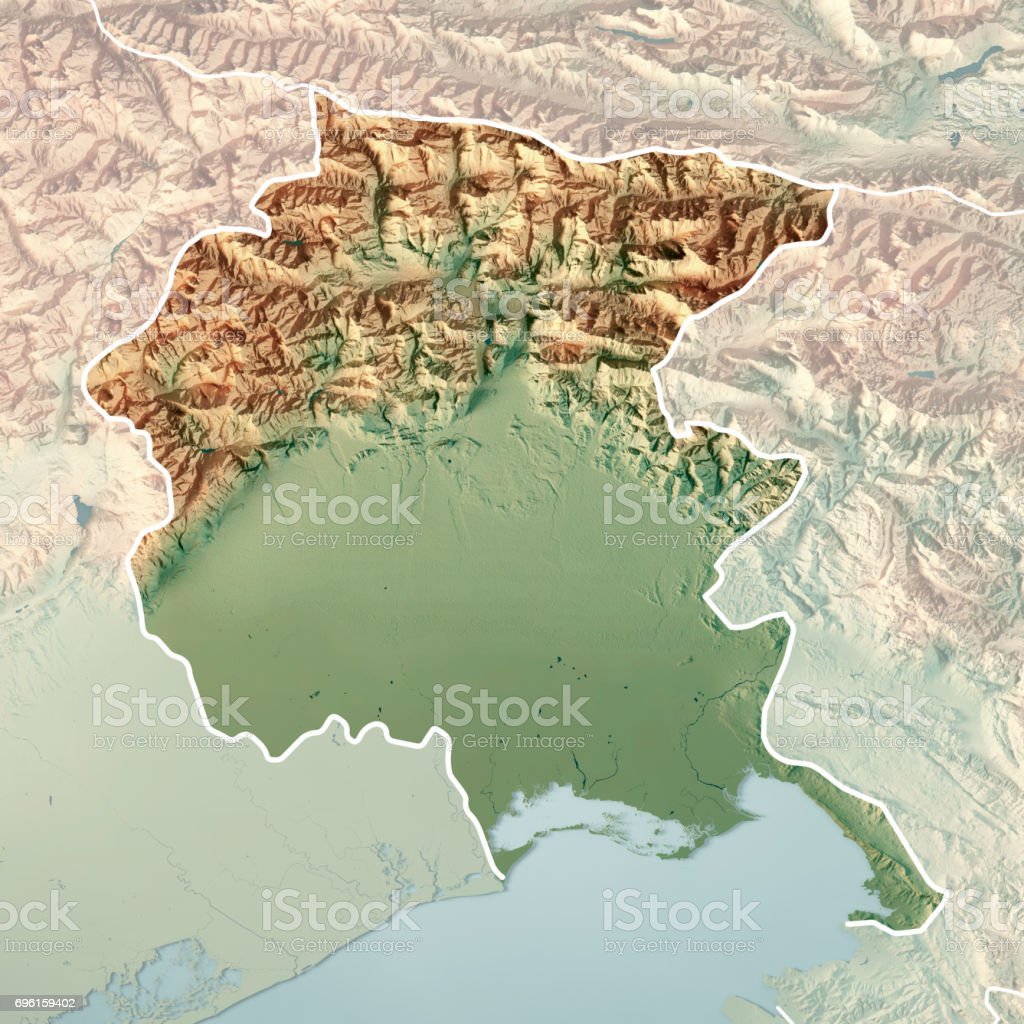 Friuli Italy Map.Friulivenezia Giulia State Italy 3d Render Topographic Map Border