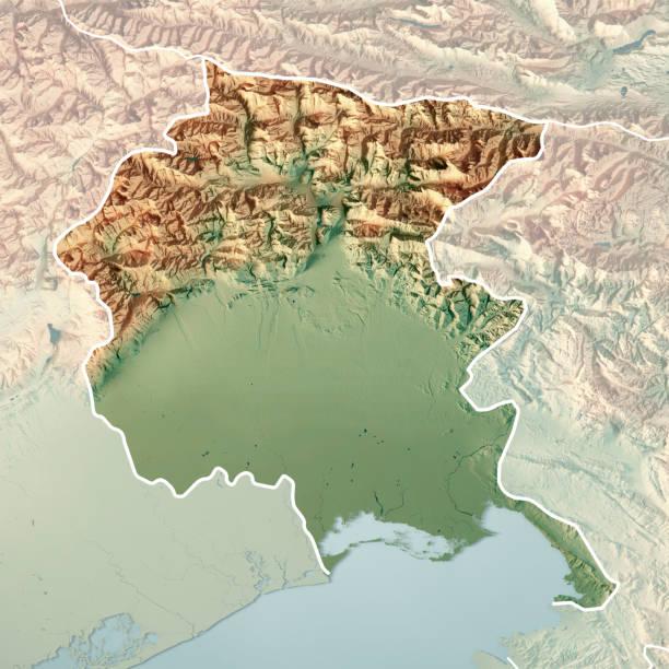 friuli-venezia giulia staat italien 3d render topographische karte border fade - friaul julisch venetien stock-fotos und bilder