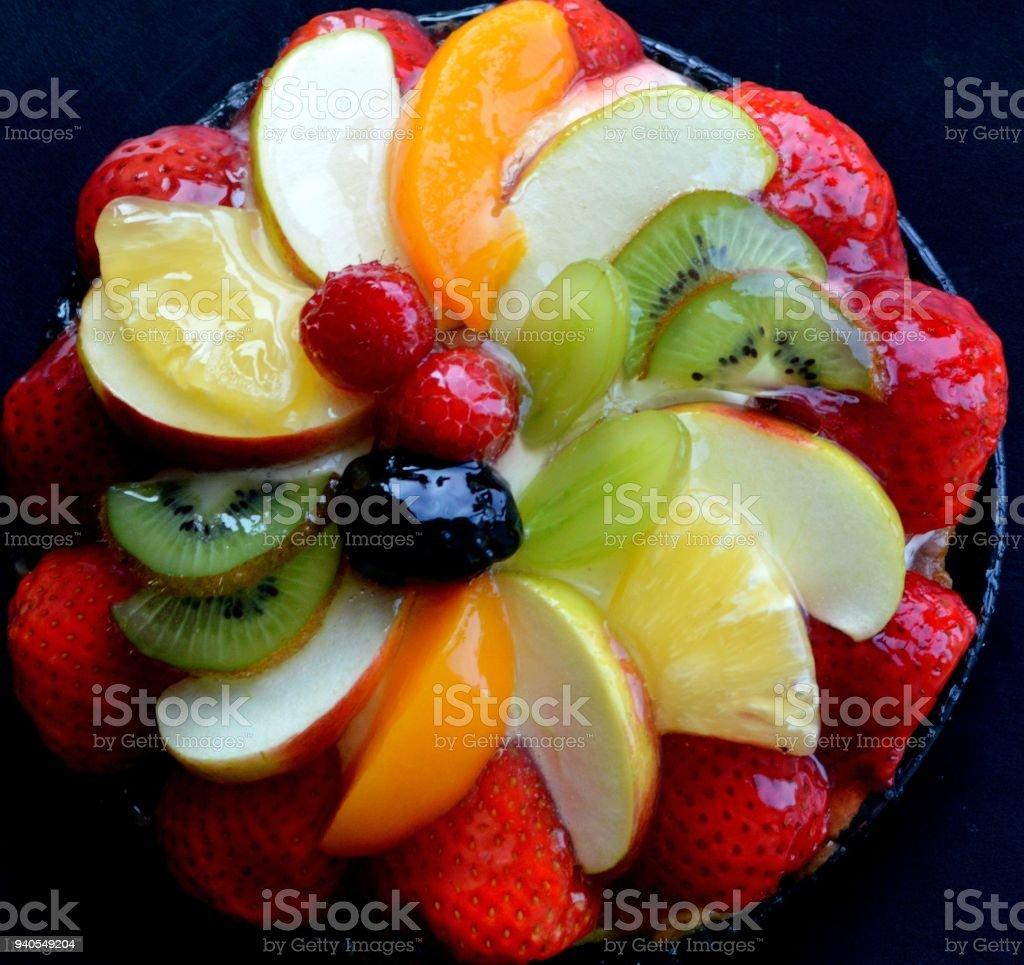 Friut pie close up stock photo