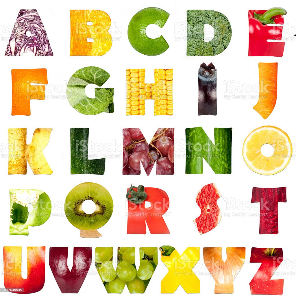 friuts and vegetables - letters stock photo