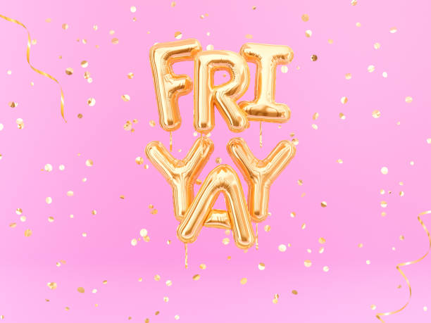 friyay text sign letters with golden confetti. friday celebration banner. - femininity stock pictures, royalty-free photos & images