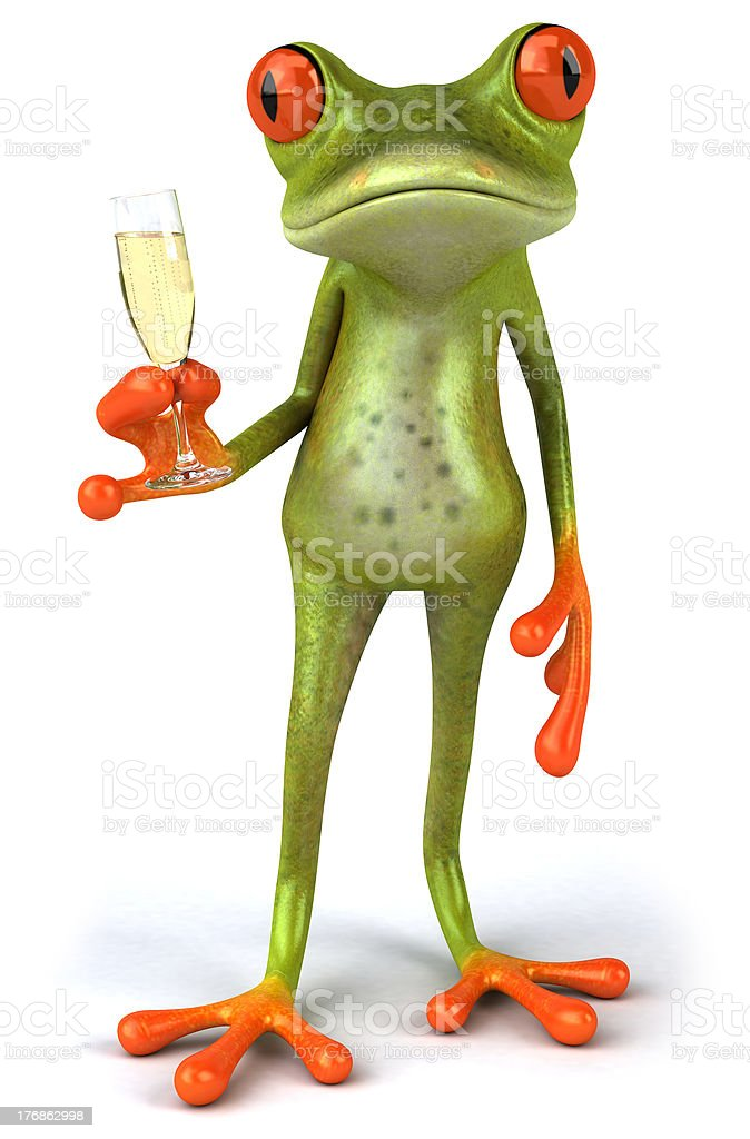 Frog and champagne stock photo