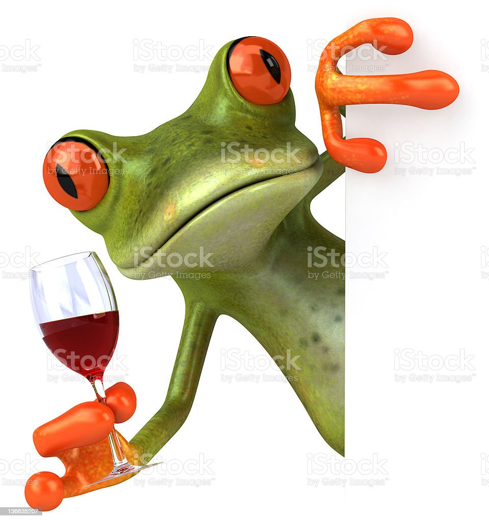 Frog and wine stock photo