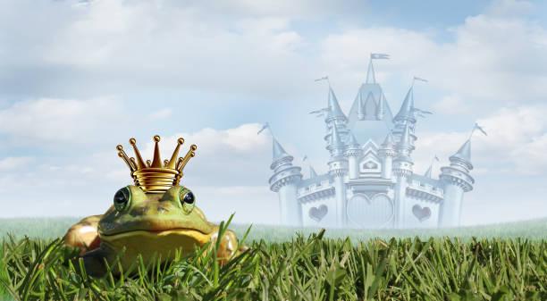 frog prince fairy tale - kiss стоковые фото и изображения