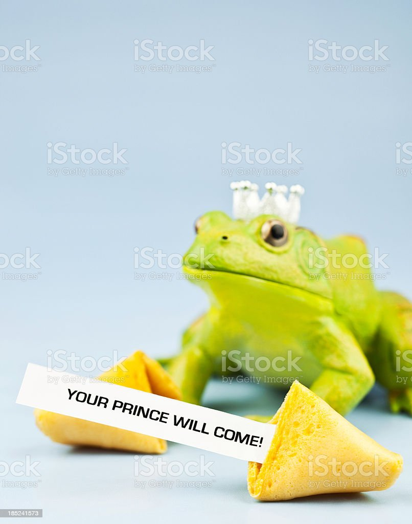 Frog Prince with Fortune Cookie Message stock photo
