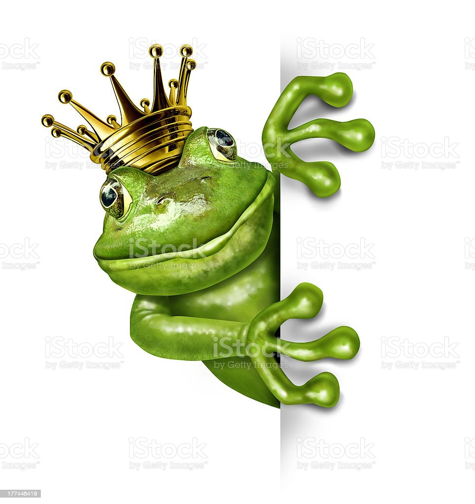 Frog Prince with Gold Crown Holding a Vertical Blank Sign stock photo