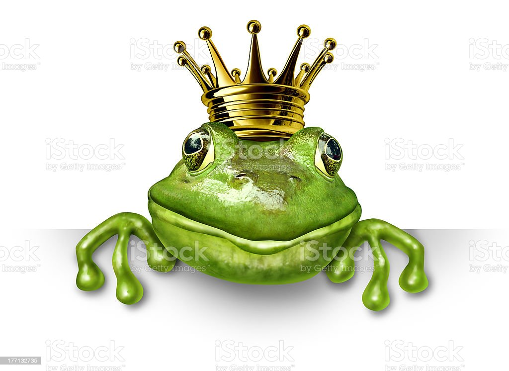 Frog prince with small gold crown stock photo