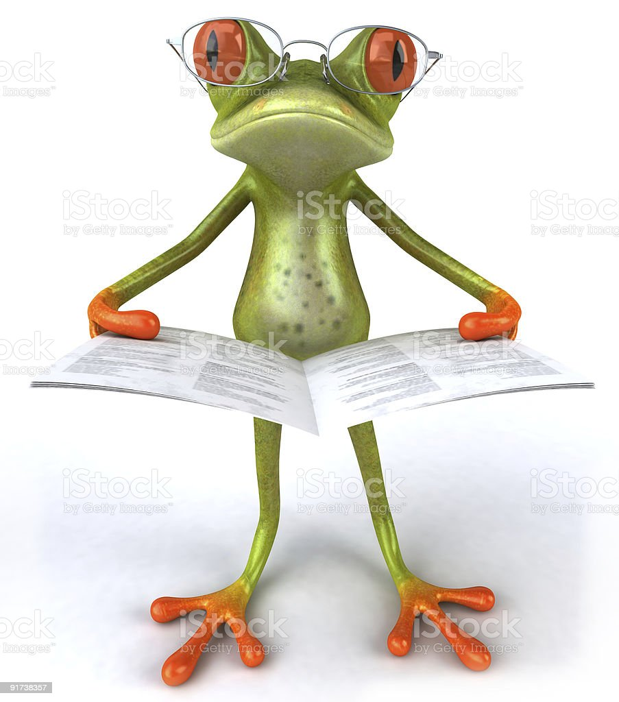Frog reading stock photo