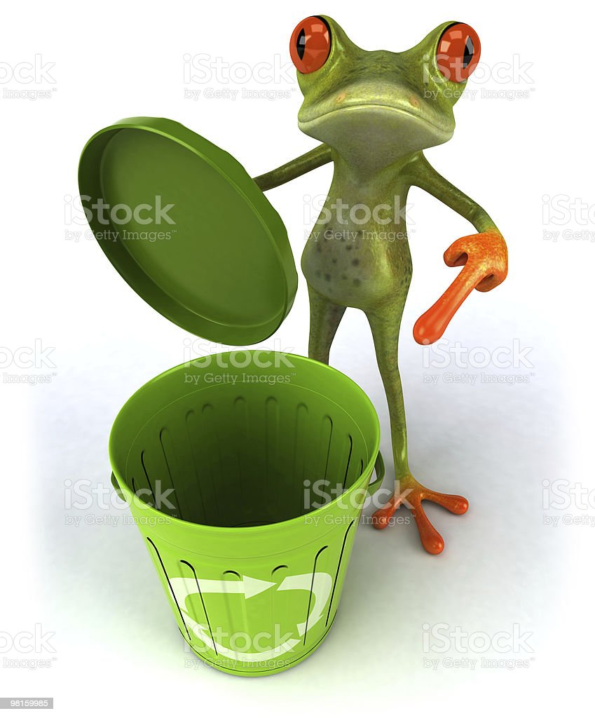Frog with a recycle bin royalty-free stock photo