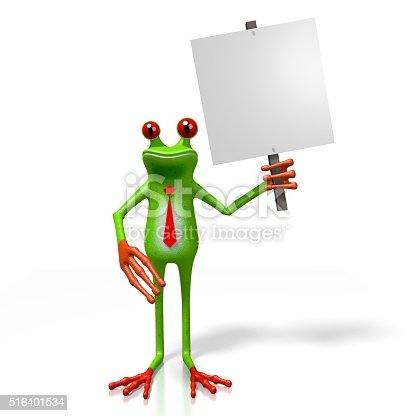 istock 3D frog with a signpost 516401534