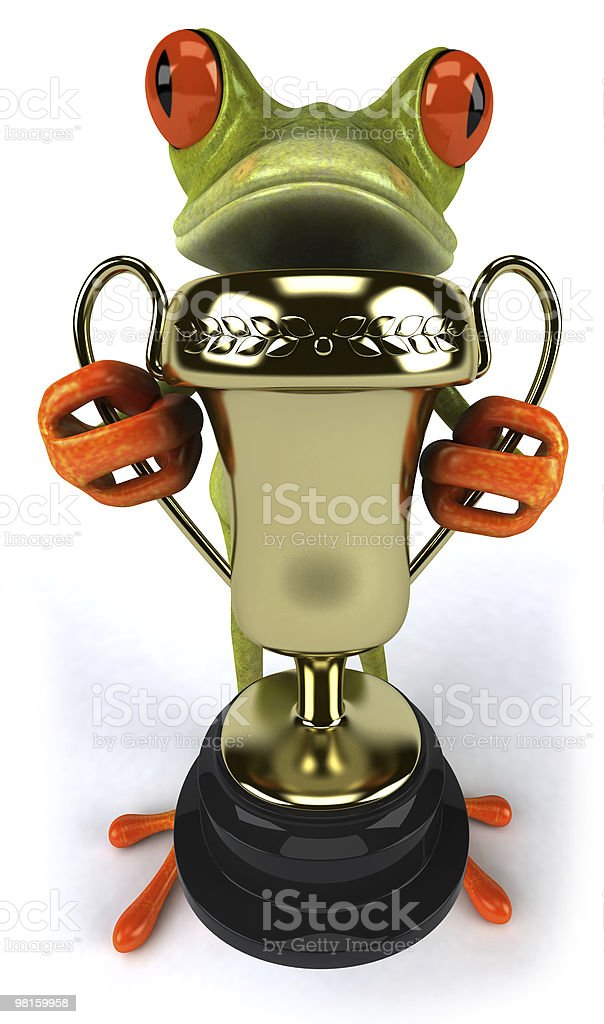 Frog with a trophy royalty-free stock photo