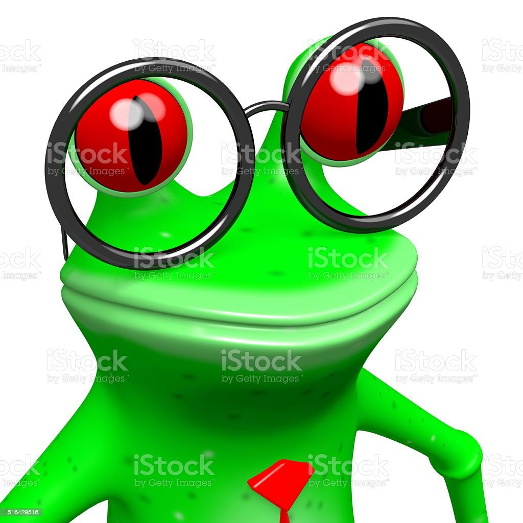 3D frog with glasses stock photo