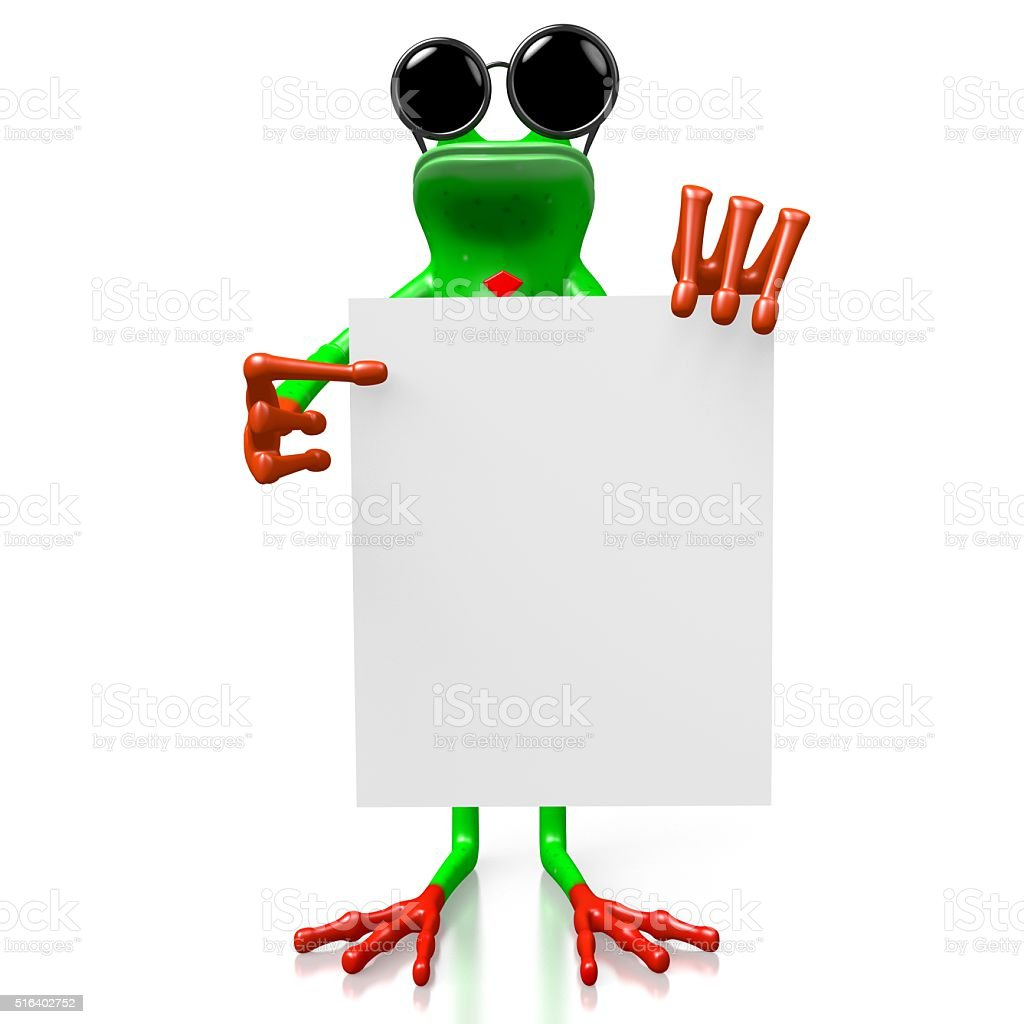 3D frog with sunglasses stock photo
