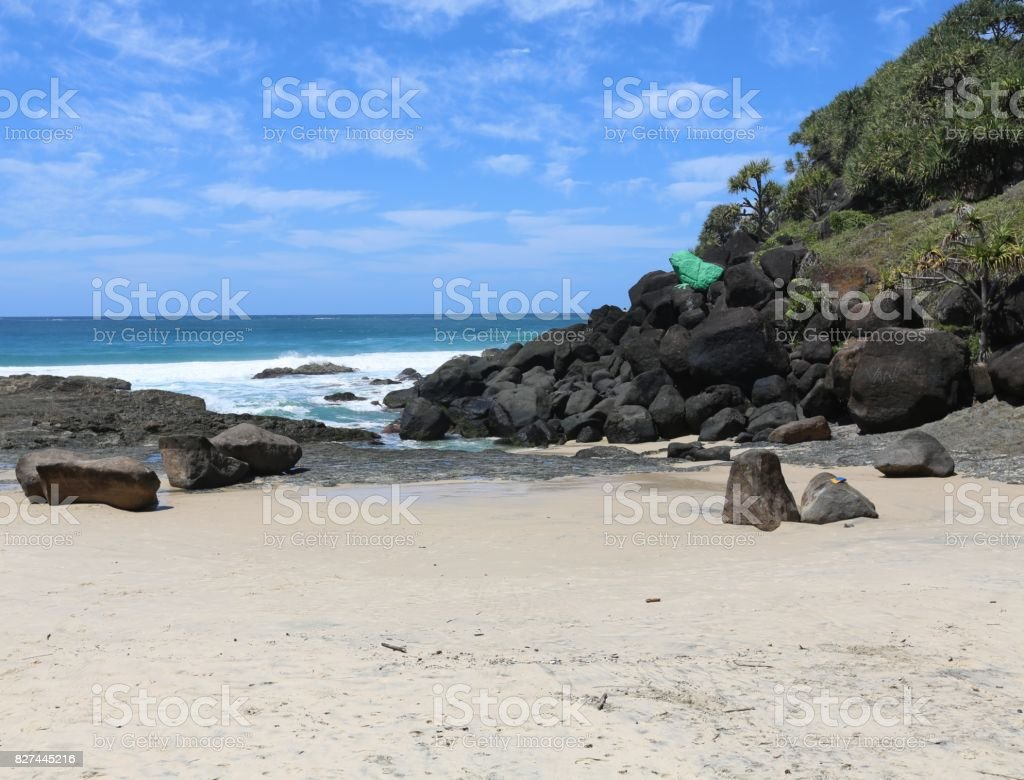 Froggy Beach at Snapper Rocks in QLD. stock photo