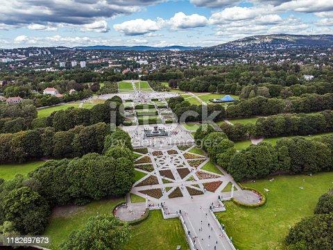 Aerial view of Frogner Park in Oslo, Norway