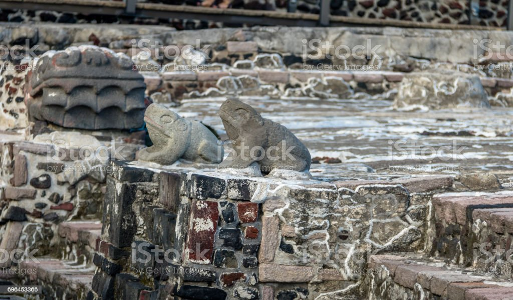 Frogs and Serpent Head Sculptures in Aztec Temple (Templo Mayor) at ruins of Tenochtitlan - Mexico City, Mexico stock photo