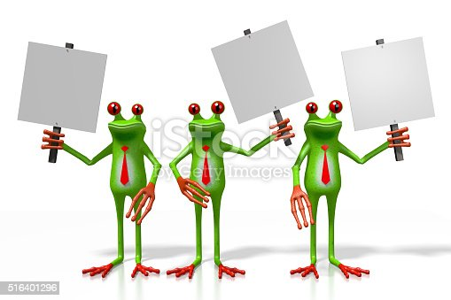 istock 3D frogs with a signpost 516401296