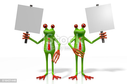 istock 3D frogs with a signpost 516401446