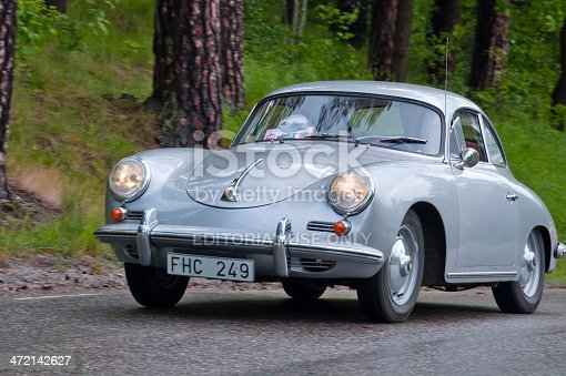 Stockholm, Sweden - June 03,2012: A fully restored PORSCHE 356  from 1960, in a classic car cavalcade around the small island Djurgarden on the public road in Stockholm Sweden