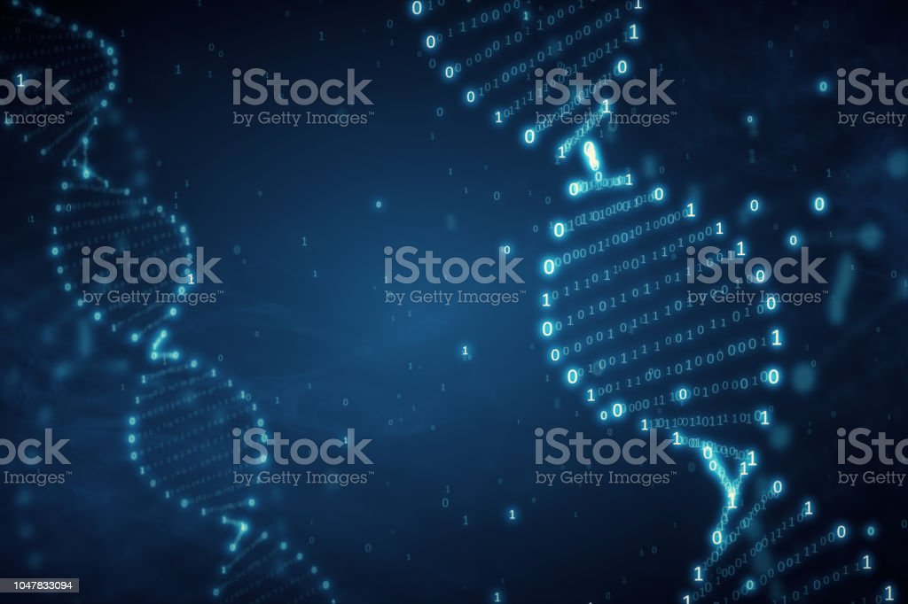DNA from a binary code on a blue background with smoke 3d illustration stock photo