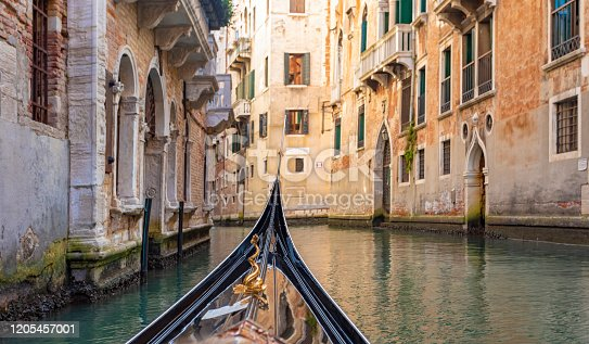 POV from a Gondola on a Canal in Venice, Italy