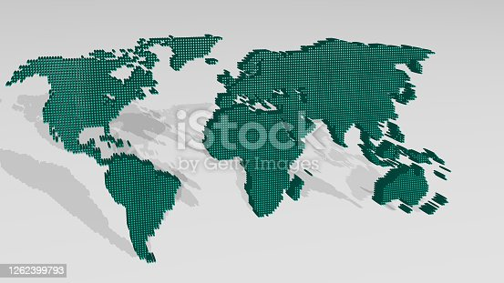 istock MAP OF THE WORLD from a perspective with the shadow. A thick sculpture made of metallic materials of 3D rendering. illustration and background 1262399793