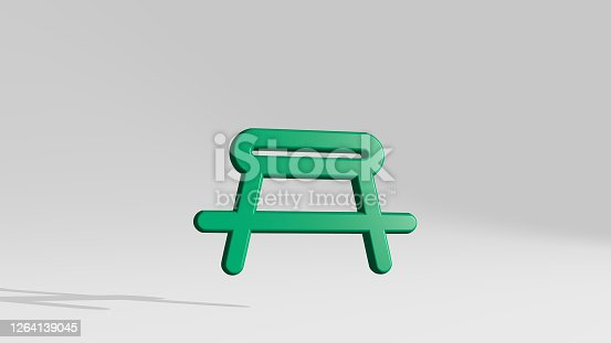 OUTDOORS BARBEQUE made by 3D illustration of a shiny metallic sculpture with the shadow on light background