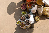 African fruitstall seen from above.