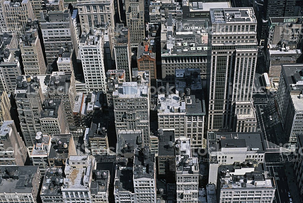 NYC from Above A photo of New York buildings taken from the Empire State Building. Aerial View Stock Photo