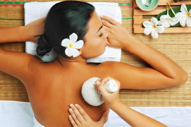 from above - thai massage stock photos and pictures