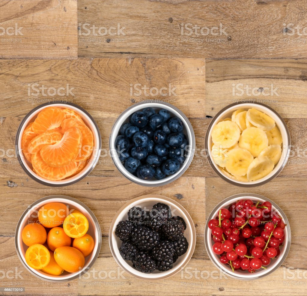 From above view of bowls of multiple fruits foto stock royalty-free