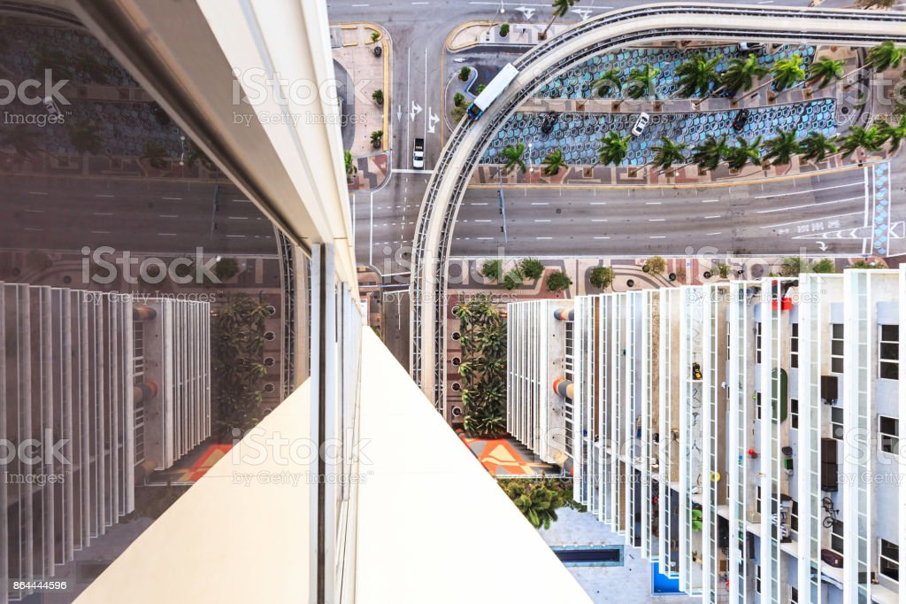 From Above View of the US-1 at Miami Downtown stock photo