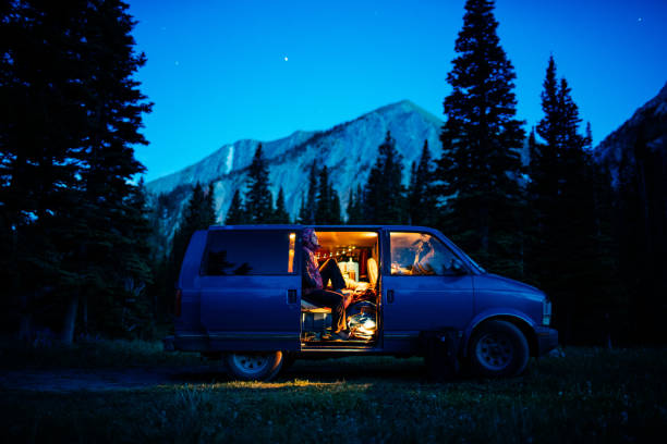 From camping in Montana stock photo