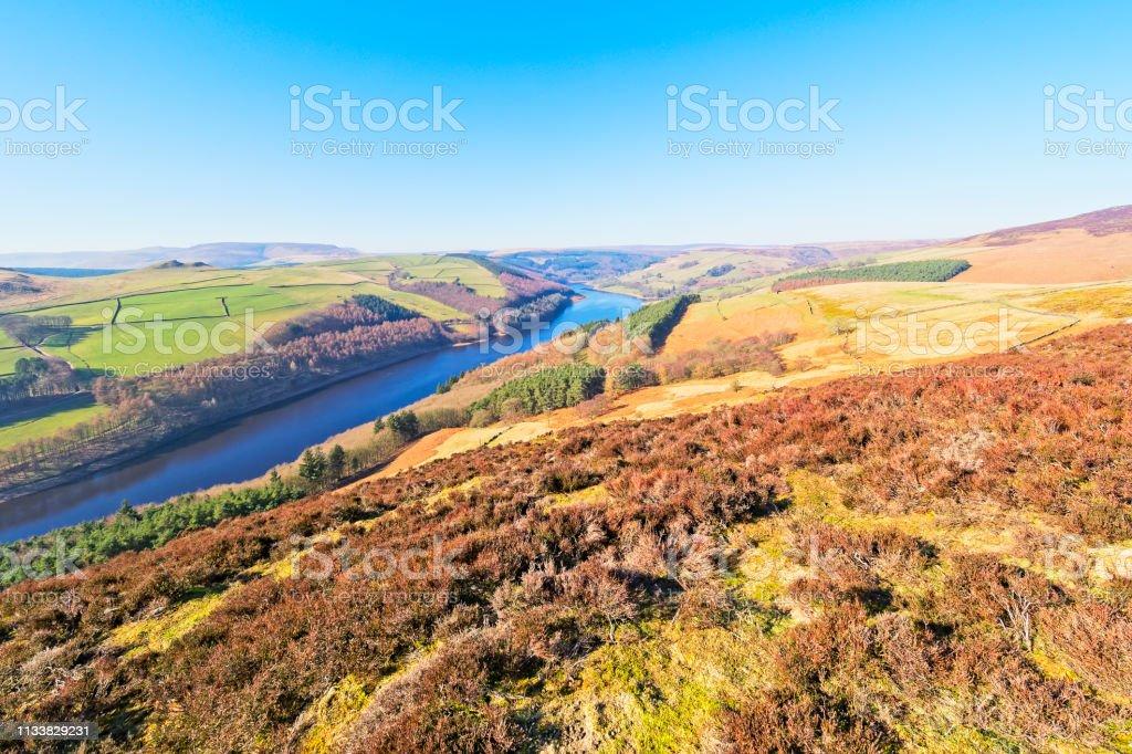 From Derwent Moor down in to the hazy Derwent Valley stock photo