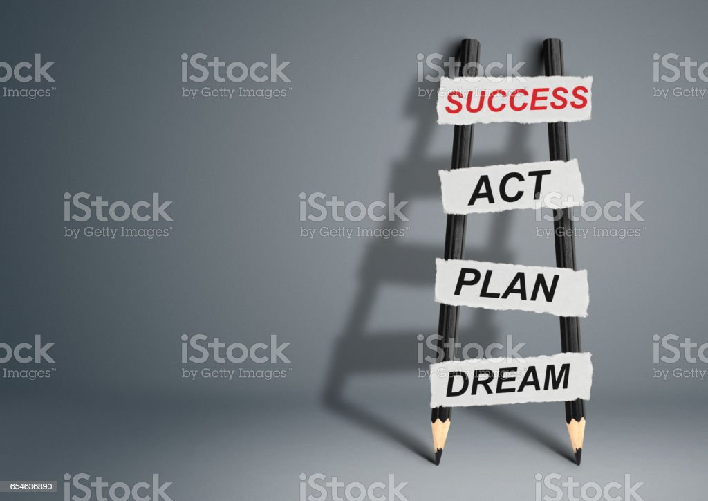 from dream to success concept, pencil Ladder stock photo