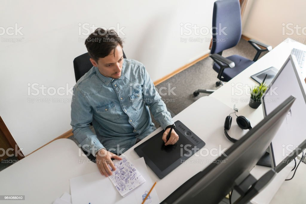 From Head To Paper, From Paper To Computer - Royalty-free Above Stock Photo