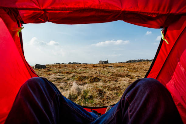 pov from inside a red tent, wild camping. - tent stock pictures, royalty-free photos & images