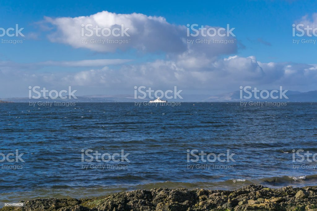 From Largs Scotland Looking over to the Isles of Bute stock photo