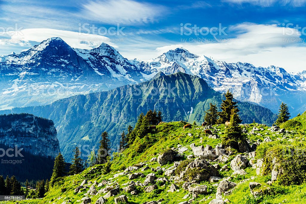 From left, Eiger, Monch, Jungfrau,landscape stock photo