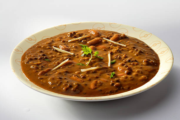 Dal Makhani, India black udad gravy with coriander and ginger strands for garnishing dal makhani stock pictures, royalty-free photos & images