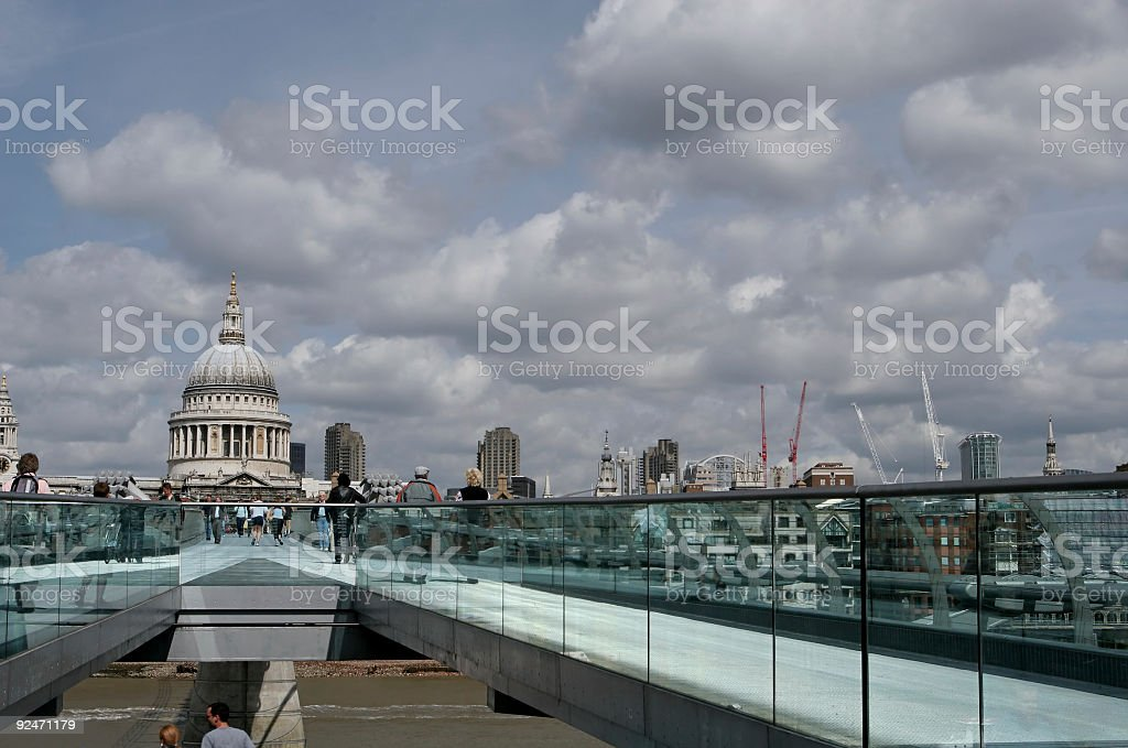 From Millennium Bridge Towards St. Pauls Cathedral royalty-free stock photo