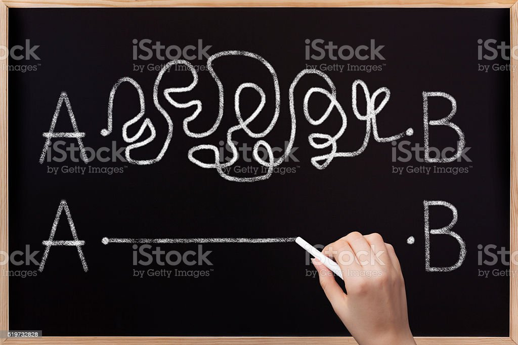 From point A to B on blackboard stock photo