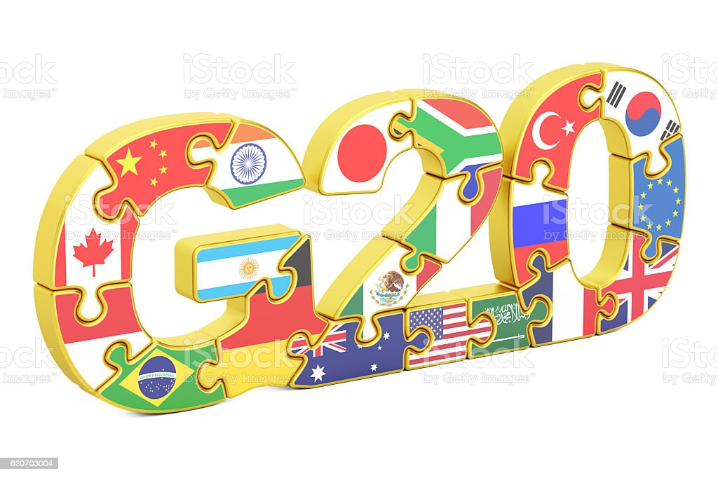 G20 from puzzles concept, 3D rendering stock photo